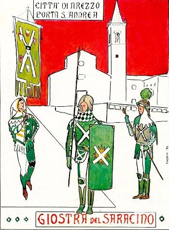 Cartolina del 1982 di P. Norfini: figuranti biancoverdi ritratti in piazza S. Agostino.