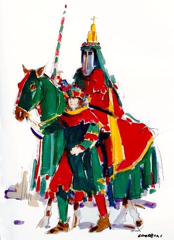 Bozzetto (2003) realizzato da S. Campeggi, che ha ritratto il Capitano rossoverde, con il palafreniere.